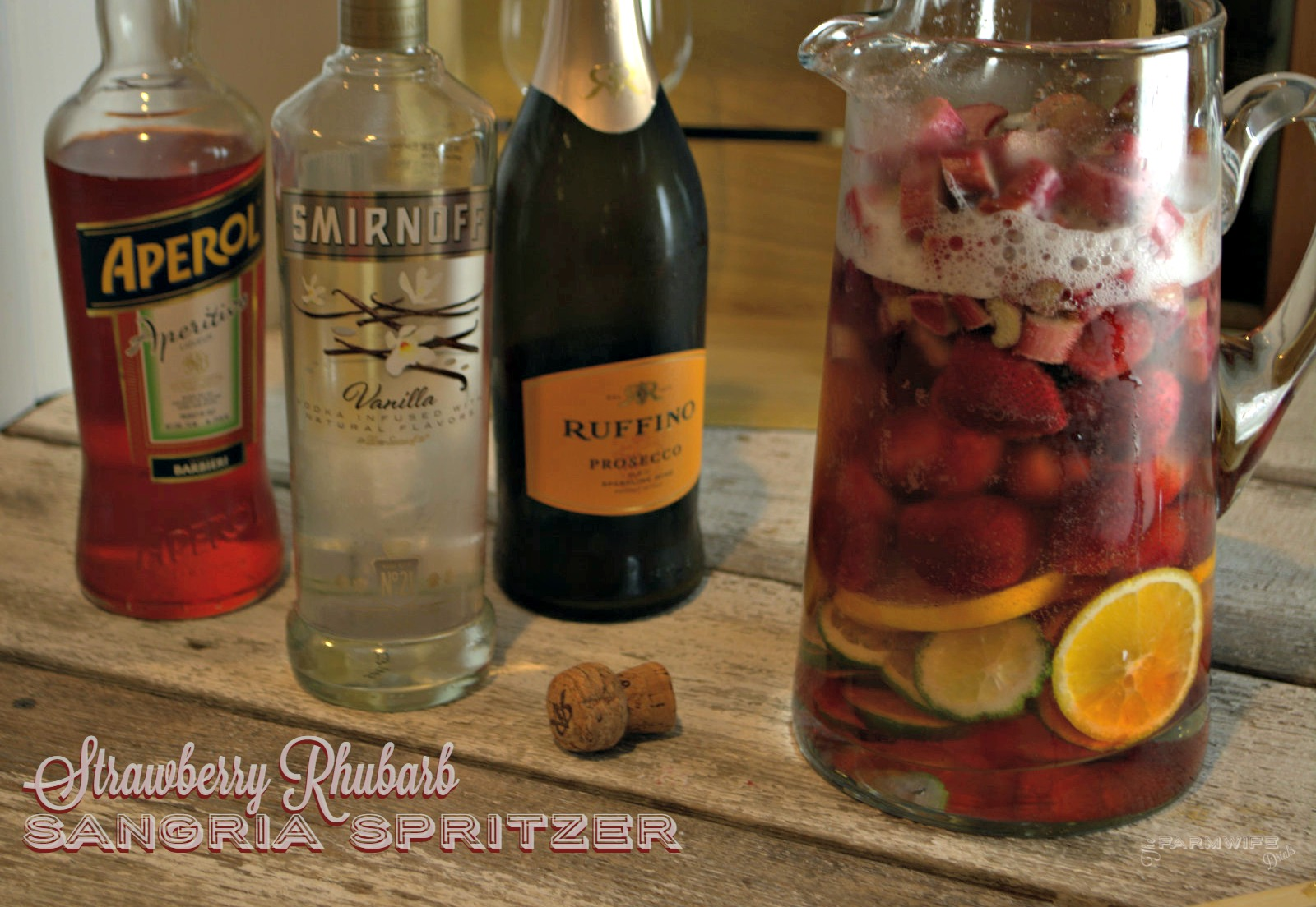 Strawberry Rhubarb Sangria Spritzer - The Farmwife Drinks