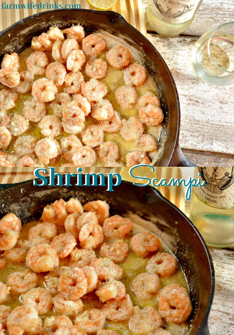 Shrimp Scampi with a white wine butter sauce is a 20 minute meal that can served with some pasta to be a hit busy weeknight meal.
