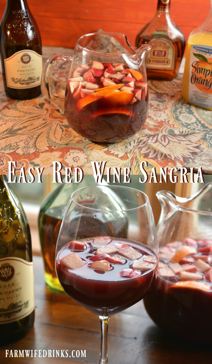 This easy red wine sangria recipe is quick to make, full of flavor and sure to be a great sangria for drinking by the pitcher.