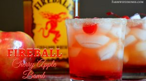 Nothing is better on a fall night then this fireball cherry apple bomb cocktail. Go ahead and fancy it up by topping it off with some cherries.