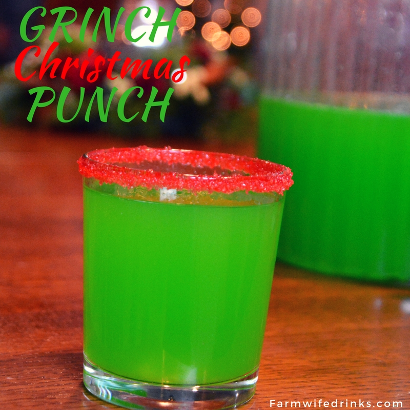 This bright green Grinch punch was a great combination of flavors. A little red sugar on the rim of the glass and this festive Christmas punch was loved by kids and adults alike.