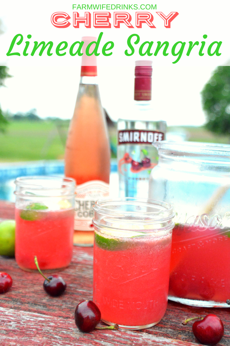 The sweet and tart combination of the new cherry cobbler wine from Oliver WInery with limeade, cherry vodka, and some maraschino cherries make this a perfect summer cherry limeade sangria recipe.
