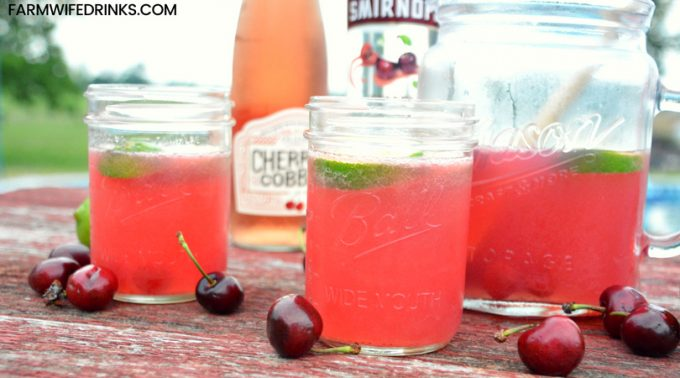 The sweet and tart combination of the new cherry cobbler wine from Oliver WInery with limeade, cherry vodka, and some maraschino cherries make this a perfect summer sangria recipe.