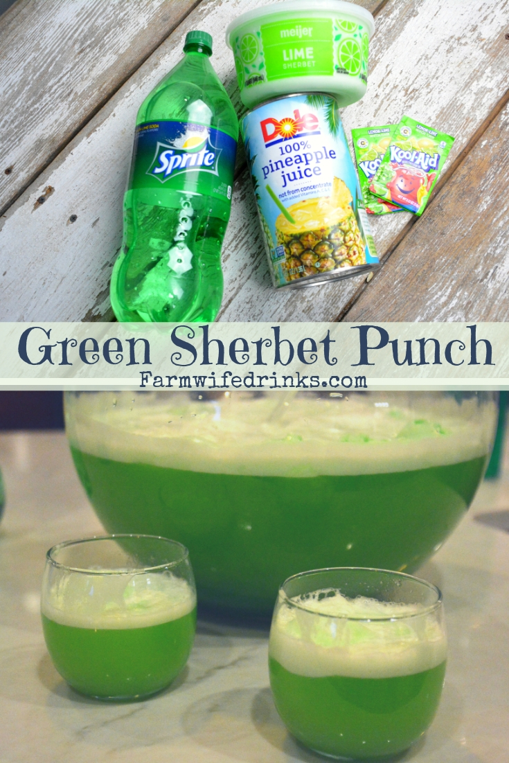 Green sherbet punch is a lime flavored green punch combining lemon-lime Kool-Aid, pineapple juice and sprite with lime sherbet for a fun and flavorful drink. #Sherbet #Greendrinks #GreenPunch #Mocktails