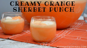 Orange punch can be the sweet combination of orange sherbet, vanilla ice cream with orange Hawaiian Punch and a bit of Sprite to give it a little fizz to create this fun creamy orange sherbet punch. #Sherbet #PunchRecipes #OrangeFood #OrangeTheme #Halloween