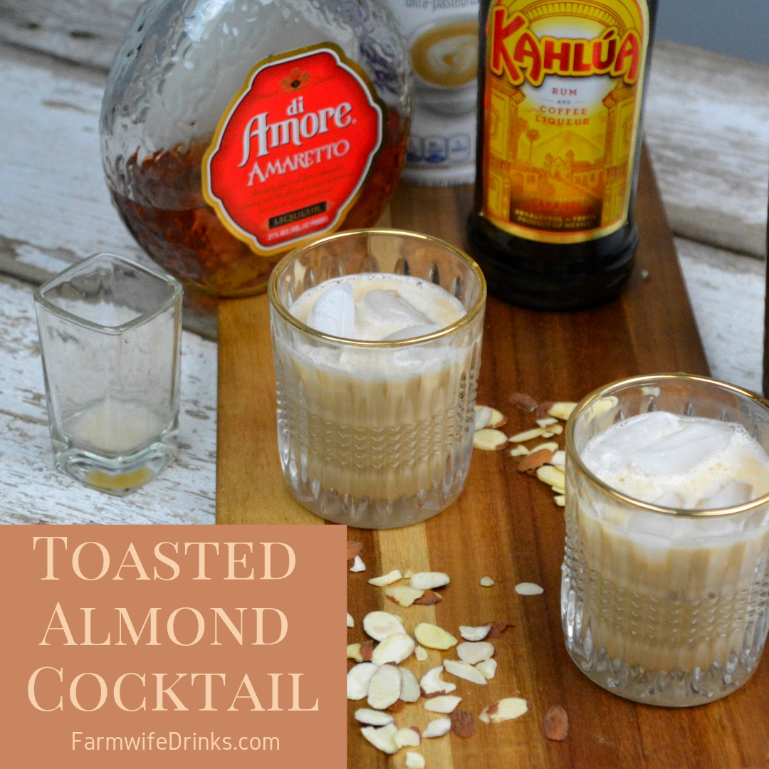 This toasted almond cocktail combines two of my favorite flavors, almond and coffee through amaretto and Kahlua with a cream to pull it all together. #Kahlua #Amaretto #Cocktails
