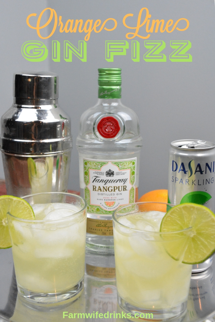 Orange-Lime Gin Fizz is a low-carb gin cocktail combining freshly squeezed lime and orange juices with Rangpur gin and lime sparkling water. #Gin #GinFizz #Tanqueray #Cocktail #Cocktails