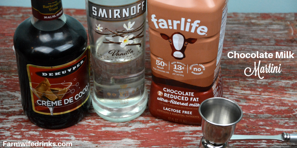 A Chocolate Milk Martini combines chocolate milk, vanilla vodka, creme de cocoa in a hot fudged rimmed martini glass for the adult version of the best kind of milk, chocolate milk. #ChocolateMartini #Martini #Vodka #Cocktails #ChocolateMilk