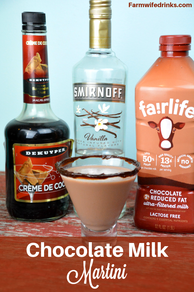 A Chocolate Milk Martini combines vanilla vodka, creme de cocoa in a hot fudged rimmed martini glass for the adult version of the best kind of milk, chocolate milk. #ChocolateMartini #Martini #Vodka #Cocktails #ChocolateMilk