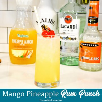 Mango Pineapple Rum Punch combines mango-pineapple juice with triple sec, Malibu rum, and white rum for a smooth Hawaiian rum cocktail that can be topped off with pineapple sparkling water.