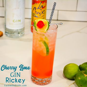 Pour the lime and gin into a highball glass filled with ice. The gin and juice will not fill the high ball glass to the rim.