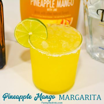 Pineapple mango margaritas are a simple three-ingredient margarita that is better than any mango margarita made with sweet and sour with the simple ingredients of pineapple mango juice, tequila, and Cointreau.