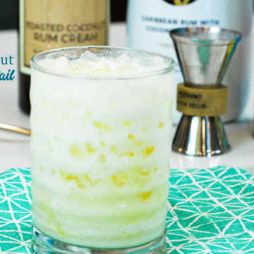 Toasted coconut pineapple cream cocktail is a smooth tropical drink combining Malibu rum and toasted coconut rum creme with pineapple juice.